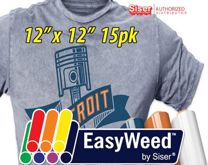 """12"""" * x 12"""" / 15-pk  Siser EasyWeed HTV - Heat Transfer Vinyl"""