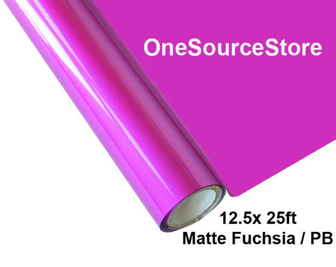 "HTV Textile Foil* / 12.5 ""x 25ft / Matte Fuchsia / PB  -  Different process used - please read before ordering."