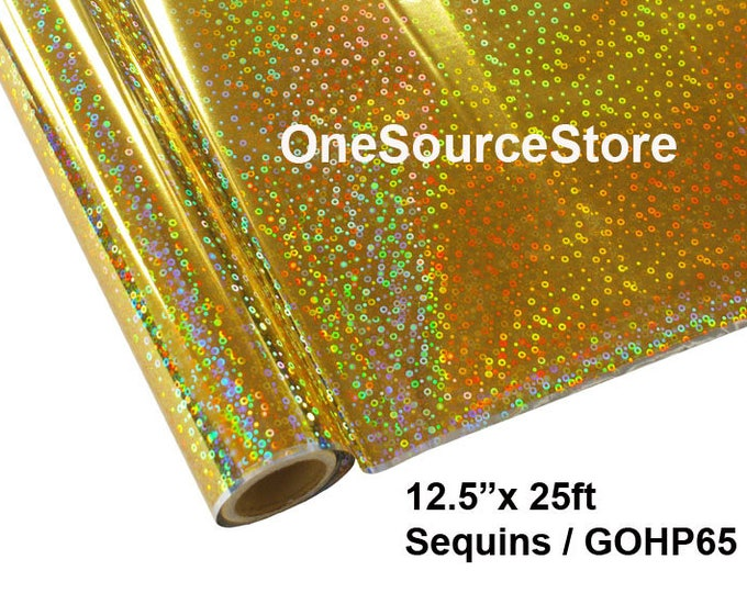 "HTV Textile Foil* / 12.5 ""x 25 ft / Sequins Gold / GOHP65 -  Different process used - please read before ordering."