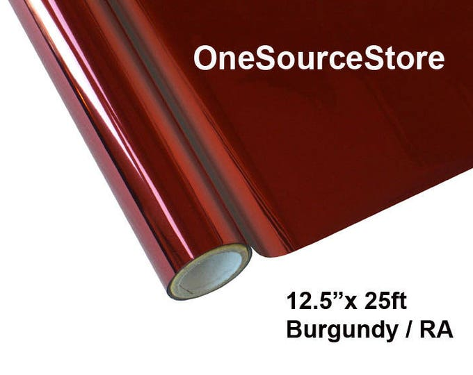 """HTV Textile Foil* / 12.5 """"x 25 ft / Burgundy / RA  -  Different process used - please read before ordering."""