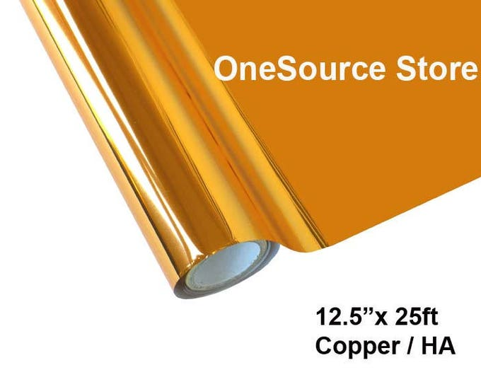 "HTV Textile Foil* / 12.5 ""x 25 ft / Copper / HA  -  Different process used - please read before ordering."