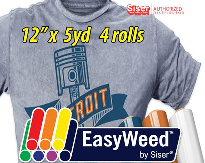 "12"" * x 5 yards / 4 rolls / Siser EasyWeed HTV- Heat Transfer Vinyl / ***Free Shipping USA***"