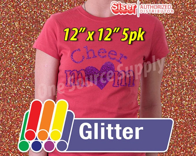 "12"" x 12"" / 5pk / Easyweed Glitter  / Combine for Shipping Discount - Heat Transfer Vinyl - HTV"