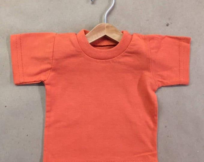 1 Six Inch Wooden Doll Hanger + 1 Miniature Cotton T-Shirt