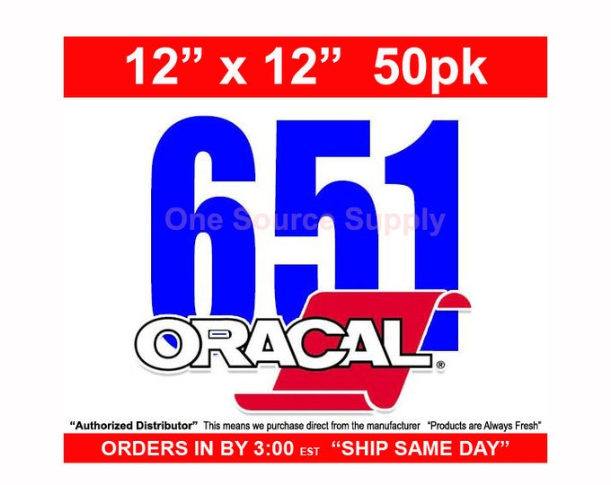 "12""x 12""* / 50-sheets / Oracal 651 Gloss Finish Vinyl - PSV- Craft Vinyl - Decal Vinyl"