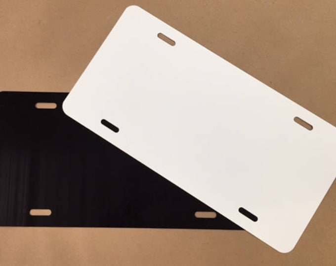 "Qty. 1 / .040 / License Plate Blank 6""x12"" - 1 side Black and 1 side White"