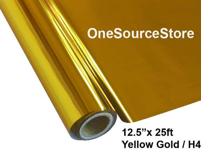 "HTV Textile Foil* / 12.5 ""x 25 ft / Yellow Gold / H4  -  Different process used - please read before ordering."