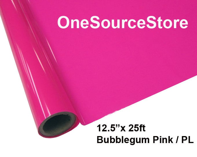 "HTV Textile Foil* / 12.5 ""x 25 ft / Bubblegum Pink / PL -  Different process used - please read before ordering."
