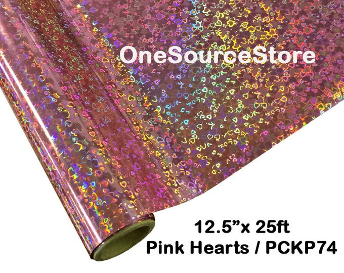 "HTV Textile Foil* / 12.5 ""x 25 ft / Pink Hearts / PCKP74  -  Different process used - please read before ordering."