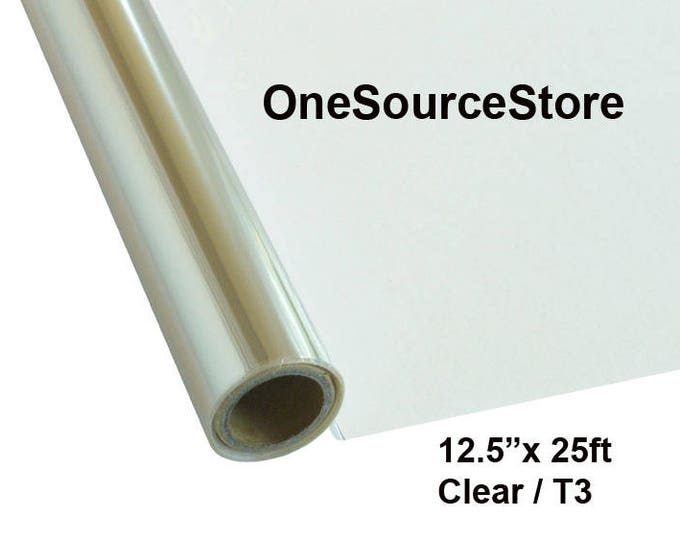 """HTV Textile Foil* / 12.5 """"x 25 ft / Clear / T3  -  Different process used - please read before ordering."""