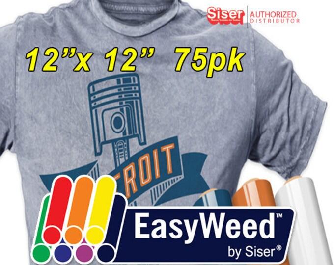 """12"""" * x 12"""" / 75-pk  Siser EasyWeed HTV - Heat Transfer Vinyl"""