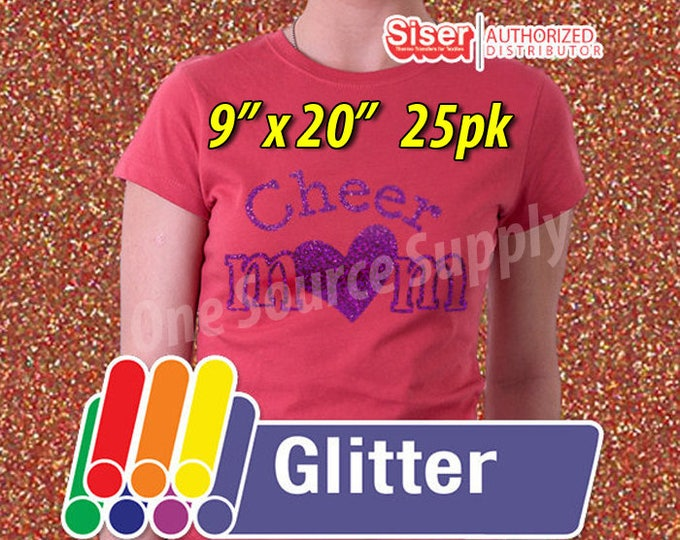 "9"" x 20"" / 25-sheets  / Easyweed Glitter HTV /  Heat Transfer Vinyl - HTV - Combine for Shipping Discount"