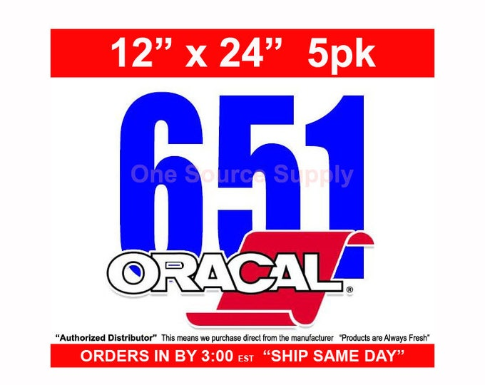 "12""x 24""* / 5-sheets / Oracal 651 Gloss Finish Vinyl - PSV- Craft Vinyl - Decal Vinyl"