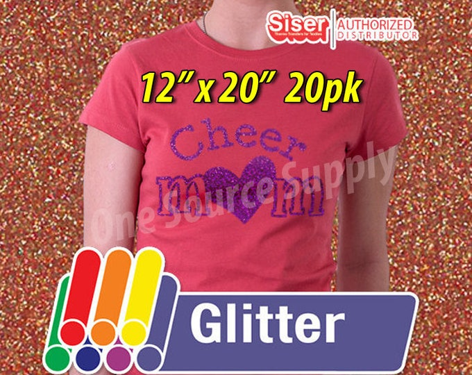 "12"" x 20"" / 20-sheets / Easyweed Glitter HTV / Heat Transfer Vinyl - HTV - Combine for Shipping Discount"