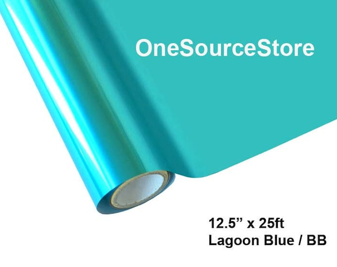 """HTV Textile Foil* / 12.5 """"x 25 ft / Lagoon Blue / BB   -  Different process used - please read before ordering."""