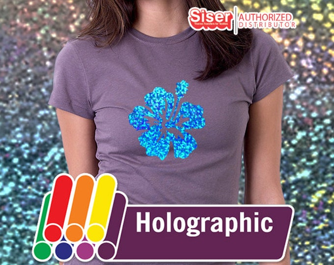 "5 Sheets - 12"" x 20"" Iron On Holographic Vinyl, Heat Transfer Vinyl, TShirt Vinyl, Siser EasyWeed Holographic"