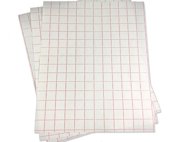 "5pk / 12""x 15"" Transfer Tape / High Tack Paper / Red Grid"