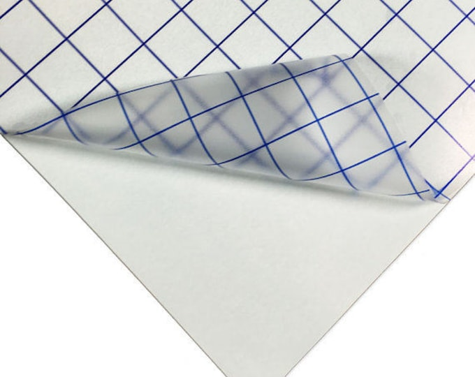 "25pk 12""x 15"" Transfer Tape / Medium Tack Clear / Blue Grid"