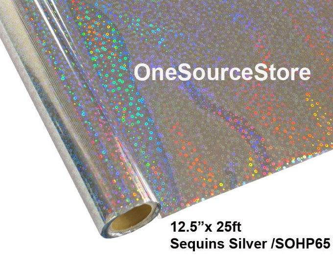 "HTV Textile Foil* / 12.5 ""x 25 ft / Sequins Silver / SOHP65  -  Different process used - please read before ordering."