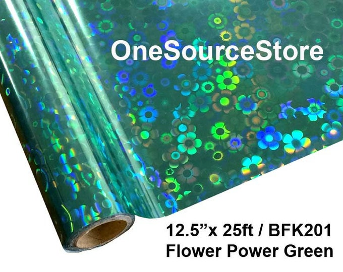 "HTV Textile Foil* / 12.5 ""x 25 ft / Flower Power Green / BFK201  -  Different process used - please read before ordering."