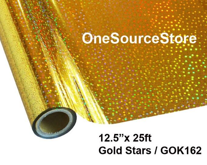 """HTV Textile Foil* / 12.5 """"x 25 ft / Gold Stars / GOK162"""