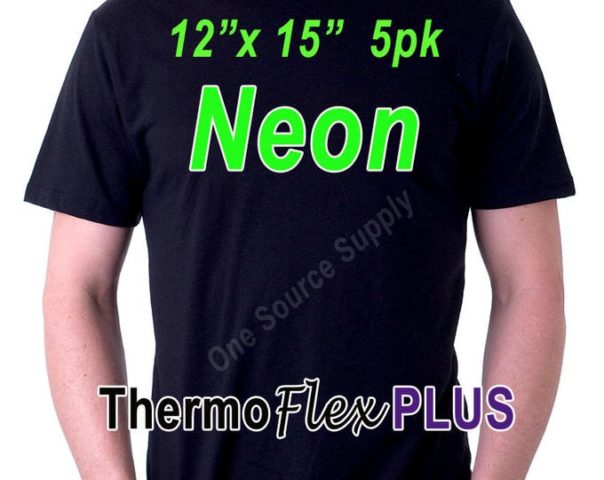 "12""x 15"" / 5-sheets / ThermoFlex Plus Neon - Heat Transfer Vinyl - HTV"