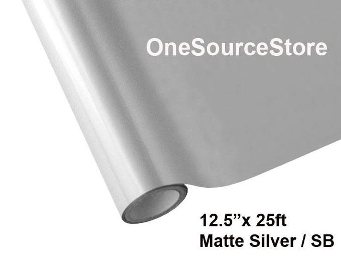 "HTV Textile Foil* / 12.5 ""x 25 ft / Matte Silver / SB  -  Different process used - please read before ordering."