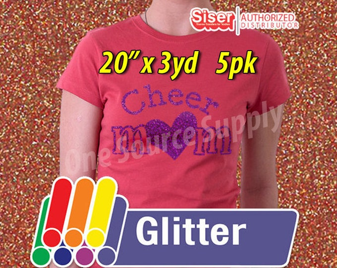 """20"""" x 3 yards / 5-rolls / Easyweed Glitter HTV / Heat Transfer Vinyl - HTV - Combine for Shipping Discount"""