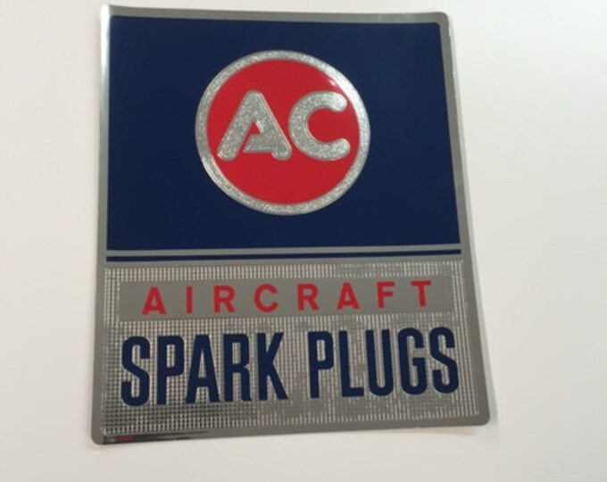 "AC Aircraft Spark Plug  / Sticker 7.5""x 9"""