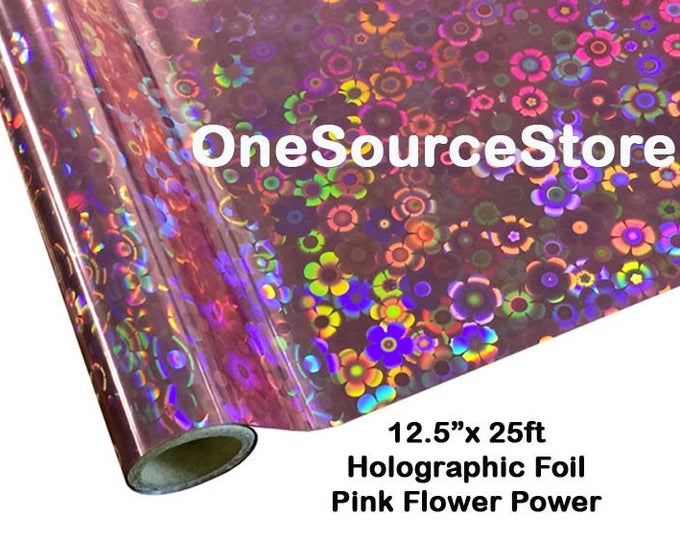 """HTV Textile Foil* / 12.5 """"x 25 ft / Flower Power Pink / PCK201 -  Different process used - please read before ordering."""