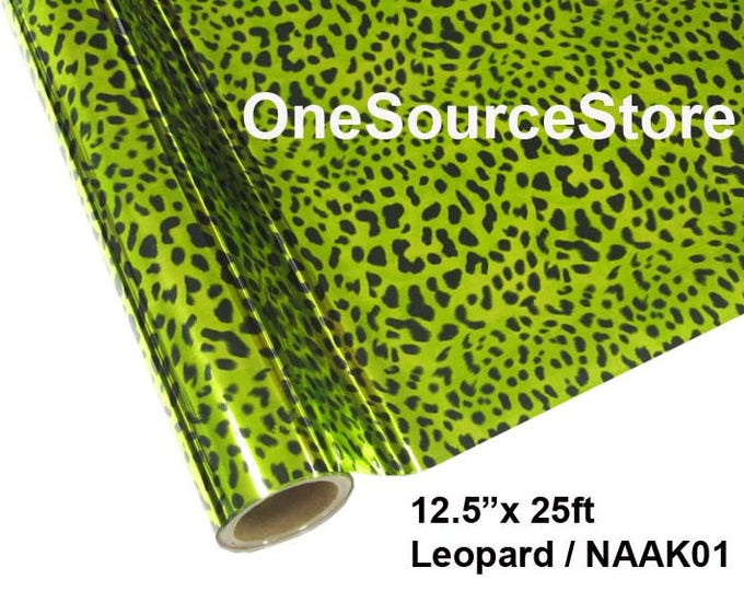 """HTV Textile Foil* / 12.5 """"x 25 ft / Leopard / NAAK01  -  Different process used - please read before ordering."""