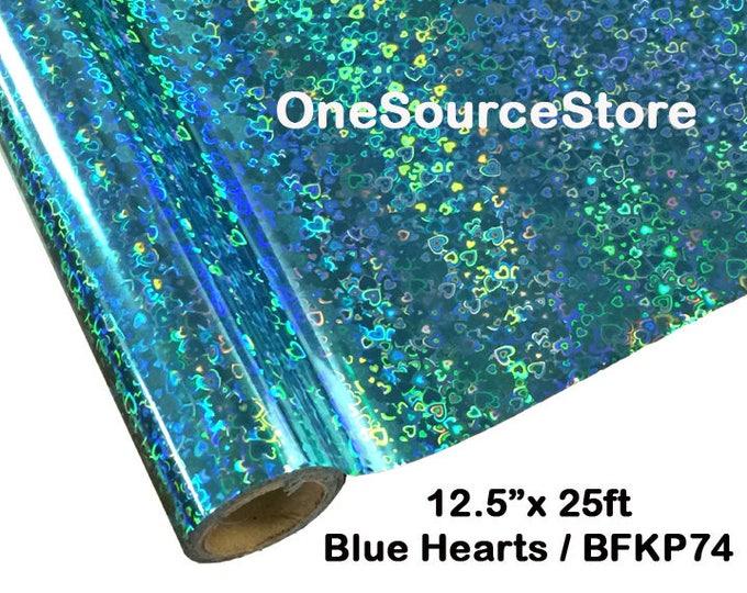 """HTV Textile Foil* / 12.5 """"x 25 ft / Blue Hearts / BF"""