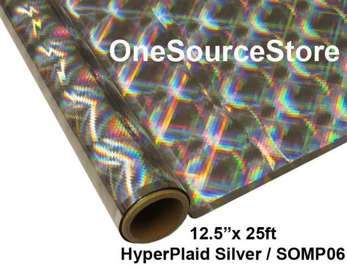 """HTV Textile Foil* / 12.5 """"x 25 ft / HyperPlaid Silver / SOMP06  -  Different process used - please read before ordering."""