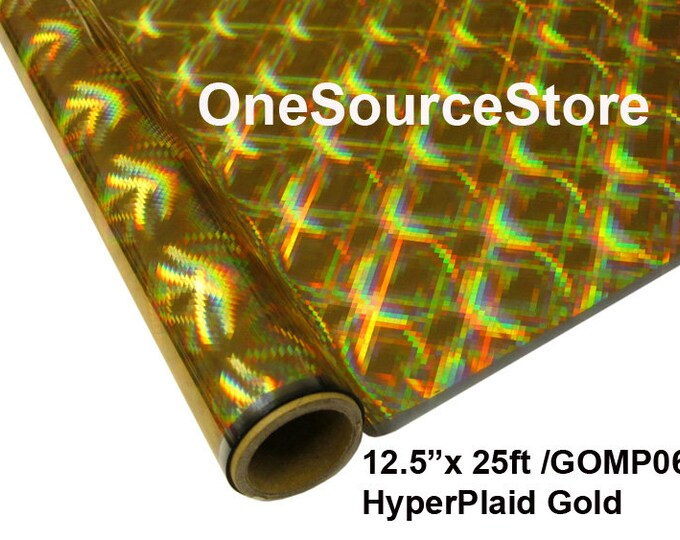 """HTV Textile Foil* / 12.5 """"x 25 ft / HyperPlaid Gold / GOMP06 -  Different process used - please read before ordering."""