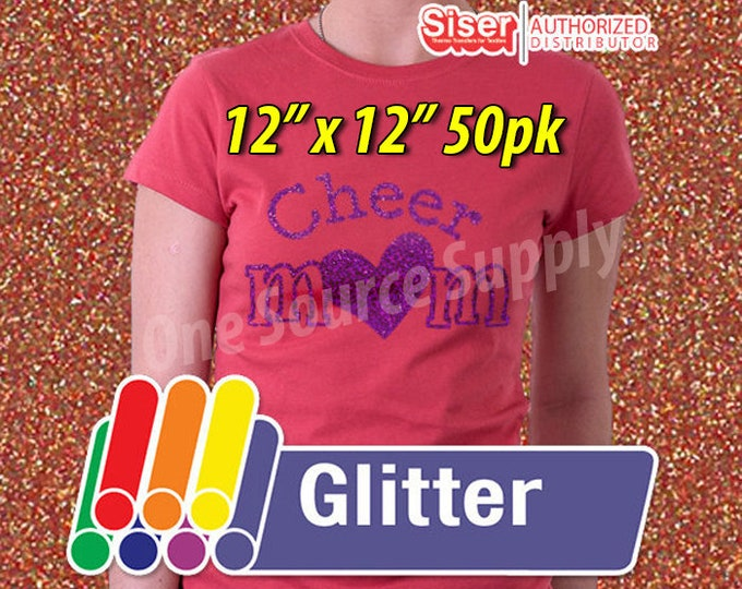 """12"""" x 12"""" / 50pk / Easyweed Glitter  / Combine for Shipping Discount - Heat Transfer Vinyl - HTV"""