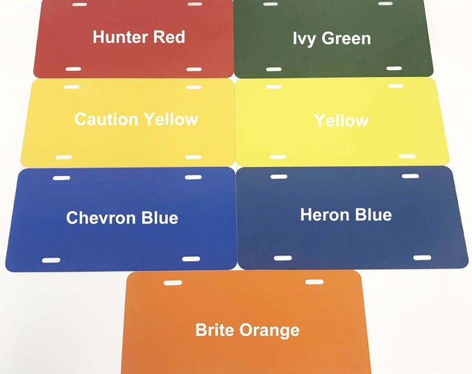 "1- License Plate Blank / Colors 6""x12"" .040 Aluminum"