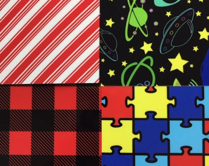 "HTV, Thermoflex Fashion Patterns 1-sheet 15""x12"".  Available: Buffalo Plaid, Jigsaw Autism, Candy Cane and/or Galaxy."