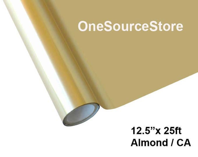 """HTV Textile Foil* / 12.5 """"x 25 ft / Almond / CA  -  Different process used - please read before ordering."""