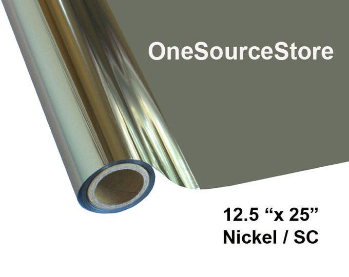 """HTV Textile Foil* / 12.5 """"x 25 ft / Nickel / SC -  Different process used - please read before ordering."""
