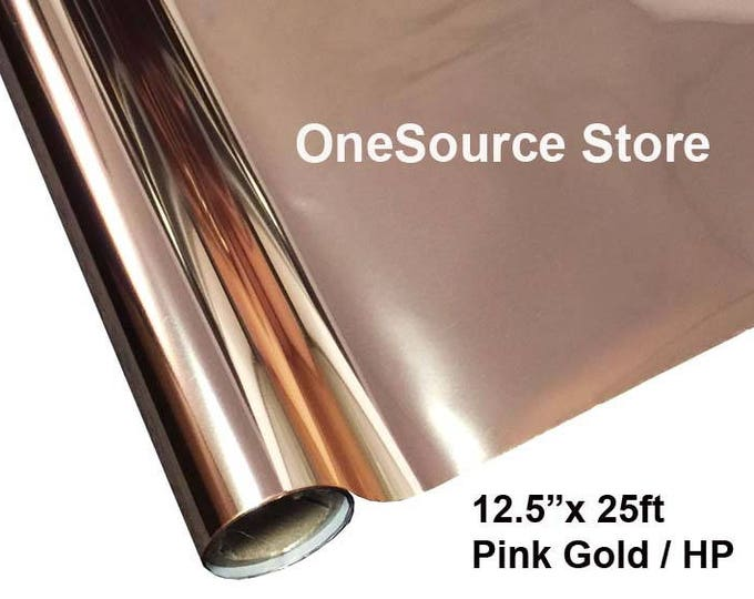 "HTV Textile Foil* / 12.5 ""x 25 ft / Pink Gold / HP -  Different process used - please read before ordering."