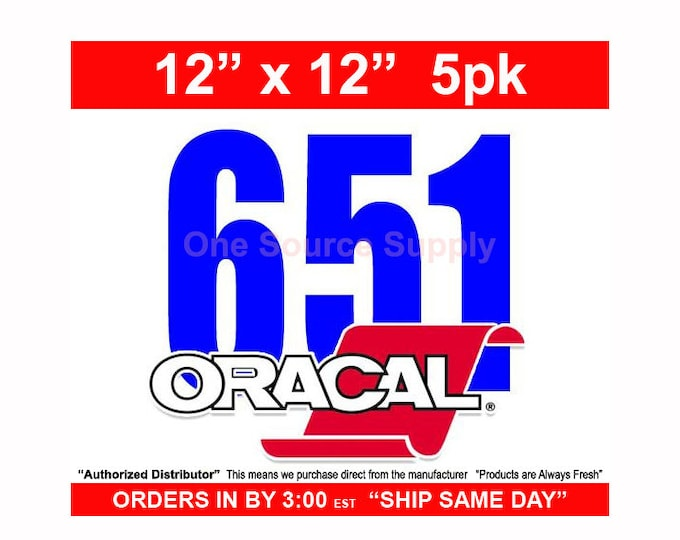 "12""x 12""* / 5-sheets / Oracal 651 Gloss Finish Vinyl - PSV- Craft Vinyl - Decal Vinyl"