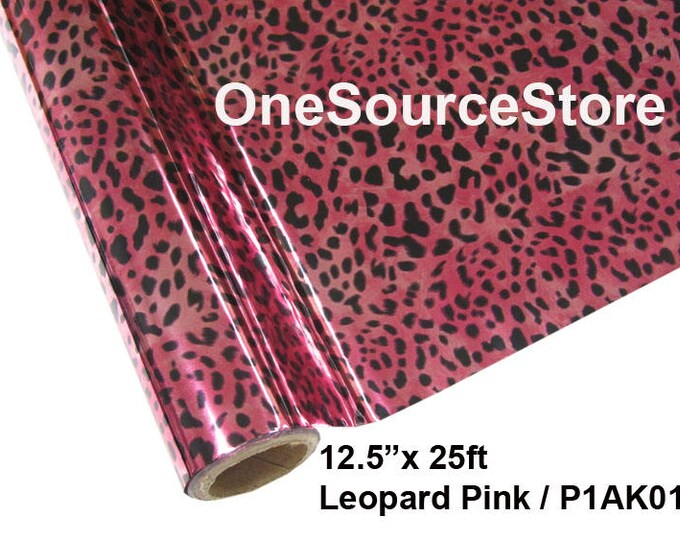 """HTV Textile Foil* / 12.5 """"x 25 ft / Leopard Pink / P1AK01  -  Different process used - please read before ordering."""