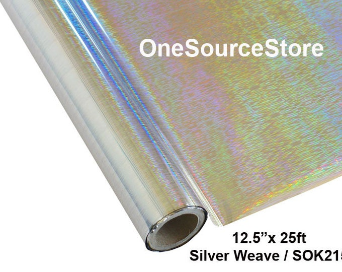 "HTV Textile Foil* / 12.5 ""x 25 ft / Silver Weave / SOK219  -  Different process used - please read before ordering."