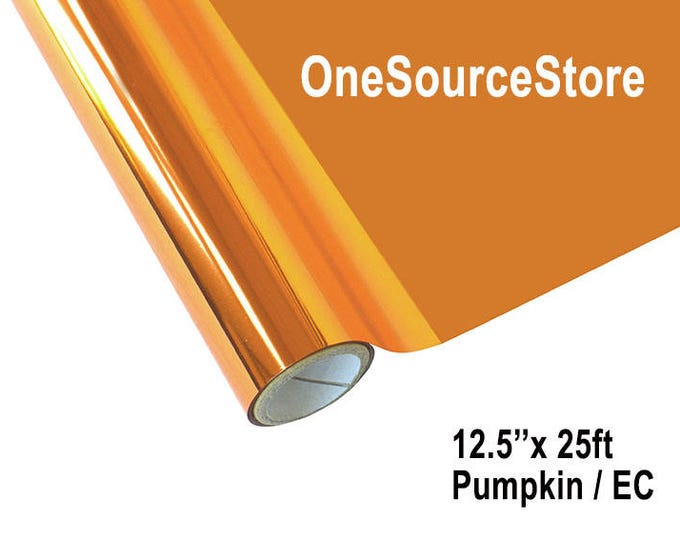 """HTV Textile Foil* / 12.5 """"x 25 ft / Pumpkin / EC  -  Different process used - please read before ordering."""