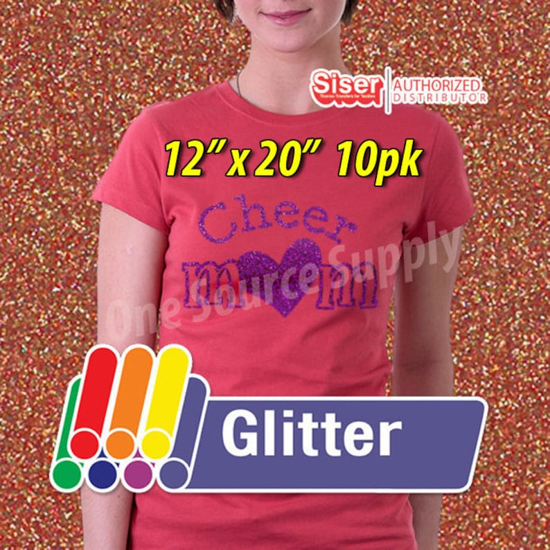 """12"""" x 20"""" / 10-sheets  / Easyweed Glitter HTV / Combine for Shipping Discount / Heat Transfer Vinyl - HTV photo"""