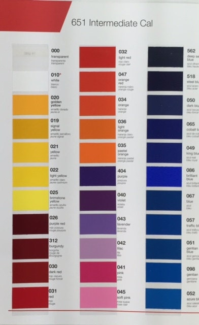 Color Chart Only Oracal 651