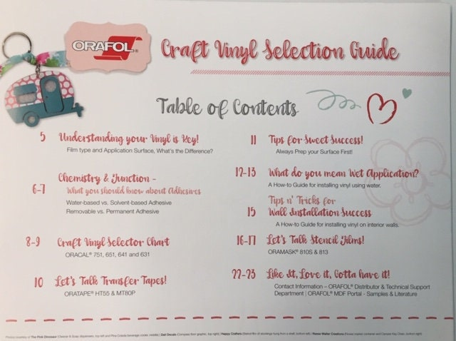 Printed Oracal Craft Vinyl Selection Guide Kit