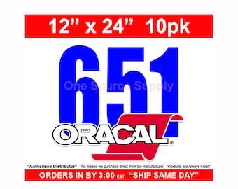 "12""x 24"" / 10-sheets / Oracal 651 Gloss Finish Vinyl - Outdoor Vinyl - Craft Vinyl - Vinyl"