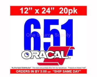 "12"" x 24""/ 20pk/ Oracal 651 Gloss Finish Vinyl - Outdoor Vinyl - Craft Vinyl - Decal Vinyl"