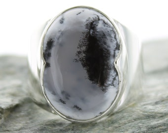 Silver ring with dendrite Agate. Size 6 . Natural stone. Gemstone ring. Silver Ring. Dendrite Agate jewels. Fairy silver ring with stone.